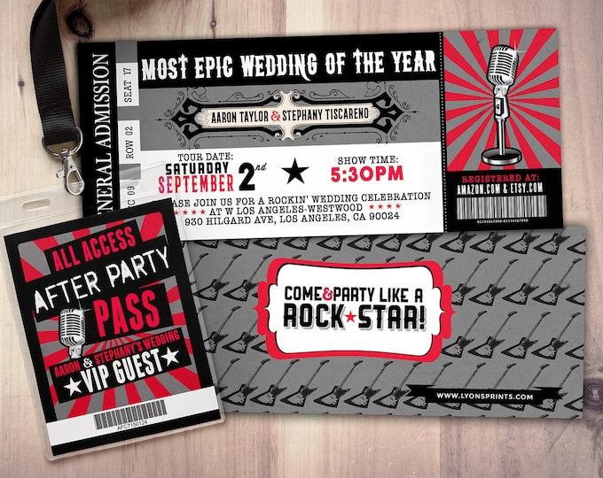 Rock Star wedding Invite/Bridal Shower INVITATION, ticket bridal shower invitation, rockstar shower, save the date, wedding invitation