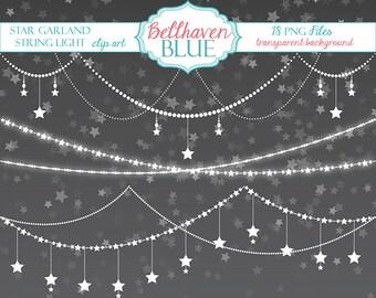 Star Garland String Light Clip Art