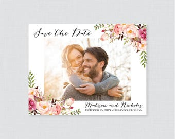 Photo Save the Date Magnets - Rustic Pink Floral Photo Save our Date Magnets for Wedding, Save the Date Fridge Magnets, Personalized 0004