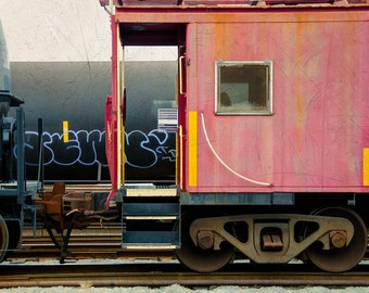 A Retired Caboose : archival quality fine art photography, horizontal format, railroad