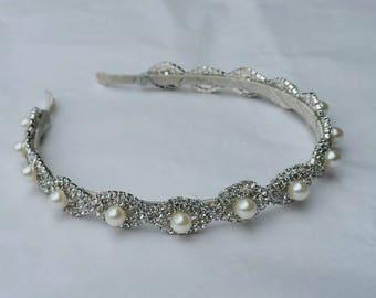 Chain Pearl and Rhinestone Bridal Headband; Simple Bridal Headpiece; Pearl Bridal Headband; Updo Wedding Headpiece; Rhinestone Headband