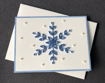 Snowflake Card Handmade Quilling; Christmas and Happy Holidays Card for a Friends and Family