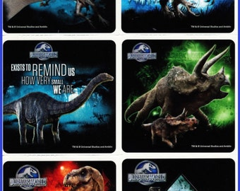 Jurassic World Stickers - Birthday Party Favors - Reward Charts - Dinosaurs - Loot Bags - T-Rex - Scrapbooking