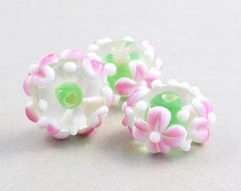 Pink Green Beads, Lampwork, Flower Springtime Beads, Three