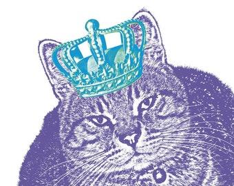 Custom Pet Portrait, Pet Lovers, Pet Art Print with Crown, Cat Portrait