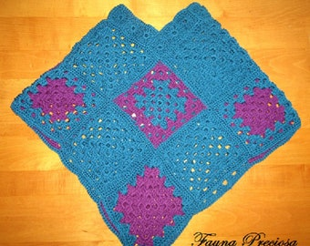 Woman's Small Hand-Crocheted Poncho- Teal and Purple- One of a Kind