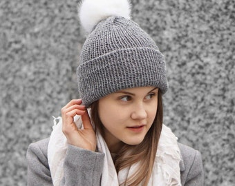 Gray Bobble hat in gray merino wool with faux fur bobble, winter hat, READY to SHIP, bobble hat, woman's hat, gift for her