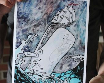 White Whale Attacking a Ship; Fine Art Print