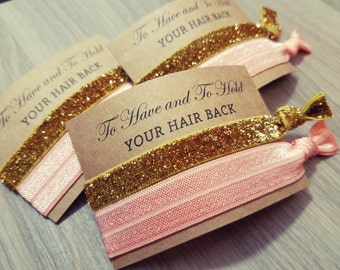 Bachelorette Party Favors | To Have and To Hold Your Hair Back | Peach Pink and Gold Hair Tie Favors