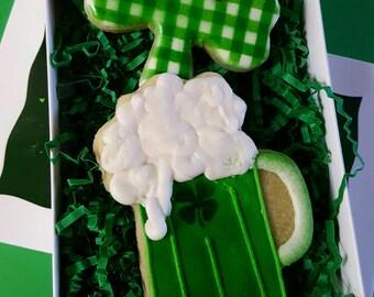 Green Beer & Shamrock Cookies