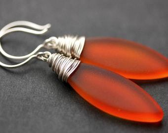 Orange Seaglass Earrings. Seaglass Dangle Earrings. Marquis Style Frosted Earrings. Wire Wrapped Earrings. Handmade Jewelry.