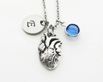 Heart Initial Necklace, Anatomical Heart, Cardiologist, Silver Jewelry, Swarovski Birthstone, Personalized Monogram, Hand Stamped Initial