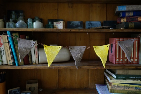 Yellow and Grey, Handmade Ceramic Bunting on curled copper wire, unique dresser or wall decoration, Last one!