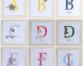 Letter Print, Individual Animal Alphabet Print, A is for...