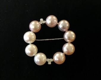 14K White Gold Pearl & Diamond Brooch