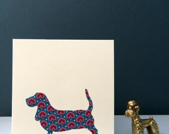 Liberty London Basset Hound Greeting Card