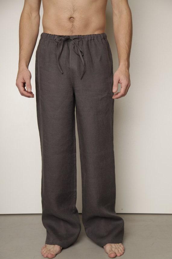 pantalon lin pyjama classique pour hommes lin mens loungwear. Black Bedroom Furniture Sets. Home Design Ideas