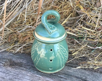 Wheat Garlic Jar in Leaf Green Handmade Pottery by Daisy Friesen