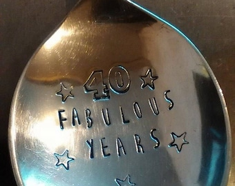 Birthday Spoon - Hand Stamped Spoon - Celebration - Small Spoon - Cutlery - 18th Gift - 21st - 40th - 50th - 100th Gift - Flatware- Gift