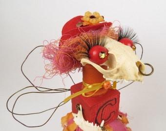 "Art Doll Assemblage ""Carlene""  Anthropomorphic Assemblage Art Doll, Bonehead, Angel"