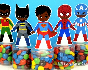 African American Boy Superhero Birthday Party Favor / Super Hero Gifts / Candy Container / Candy Buffet / Party Favor Boxes / Kids Favors
