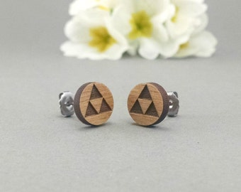 Zelda TriForce Earrings - Laser Engraved on Alder Wood - Nintendo Legend of Zelda - Hypoallergenic Titanium Post Earrings