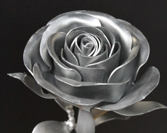 Metal Long Stem Steel Rose, Silver Painted, Steampunk Rose, Prize, Trophy, Silver Medal, Silver Rose, Silver Flower
