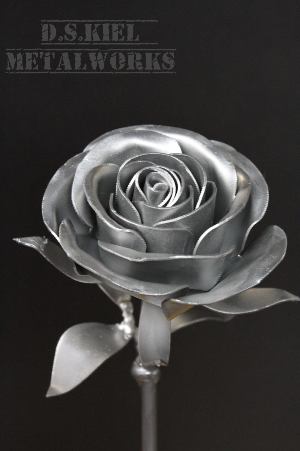Metal Long Stem Steel Rose Silver Painted Steampunk Prize Trophy Medal Flower