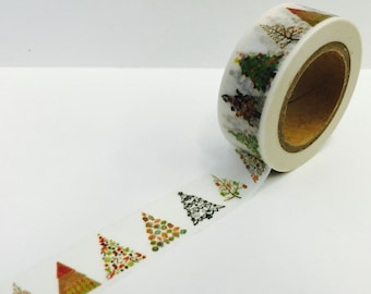 Holiday Winter Christmas Patterned Trees Paper Washi Tape Scrapbooking Decorate Sticker ( 615)