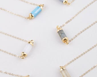 Gemstone Choker Necklace, Gift for Mom, Bridesmaid Gift, Layering Necklace, Gold Choker Necklace, Gem Choker in Labradorite, Moonstone,Lapis