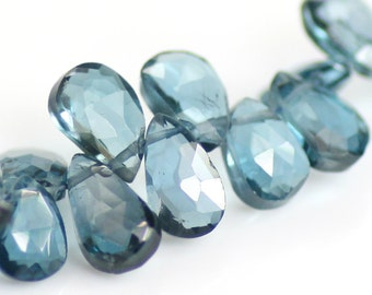 London Blue Topaz Briolette Beads, AA Grade, 7-8mm, Faceted Pear Drops, Choose Quantity, GS-51