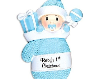 Personalized Christmas Ornaments Baby's First Baby Boy in Mitten