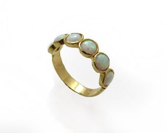 Gold ring. White opal gold ring. White opal ring. Gold jewelry. Dainty gold ring. Gold dainty ring. Opal gold ring. (gfr9531-256)