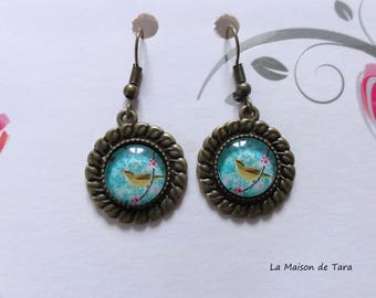 Vintage - Cabochon - turquoise bird earrings