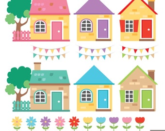 Little Houses Digital Clipart