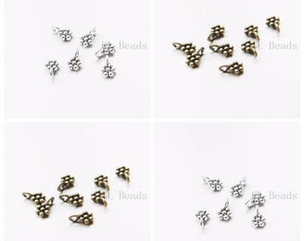 100 Pieces Oxidized Silver or Antique Brass Tone Base Metal Charms-Drop 9x6mm (16412Y)