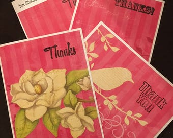 Thank You Cards - set of 4 with matching envelopes.  Blank inside.
