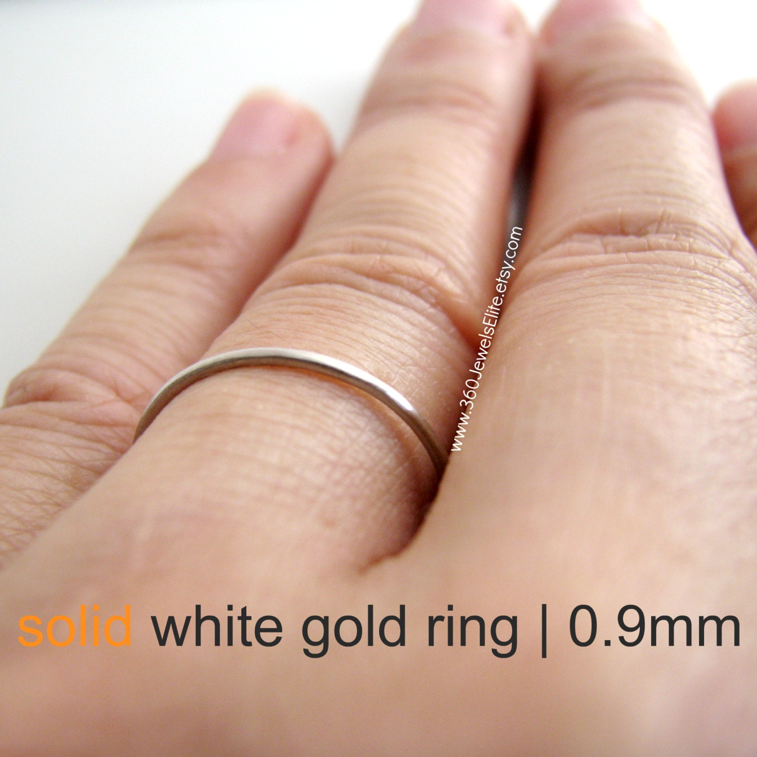 Solid white gold ring spacer or ring guard thin gold ring