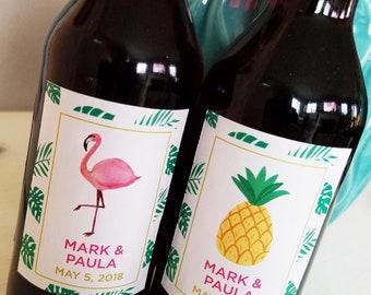 Custom Let's Flamingle Mini Wine or Champagne Label // Bachelorette Party Favor // Wedding Shower Party Favor