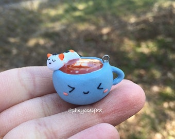 Polymerclay cute Latte coffee cup and a sleepy cat, keychain charm