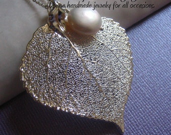 Genuine Silver Plated Aspen Leaf & Pearl necklace - Aspen leaf, AAA grade freshwater coin pearl, all sterling silver, Bride or Bridesmaids