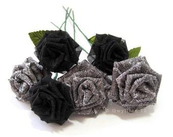 Elegant Silver and Black Rose Bouquet