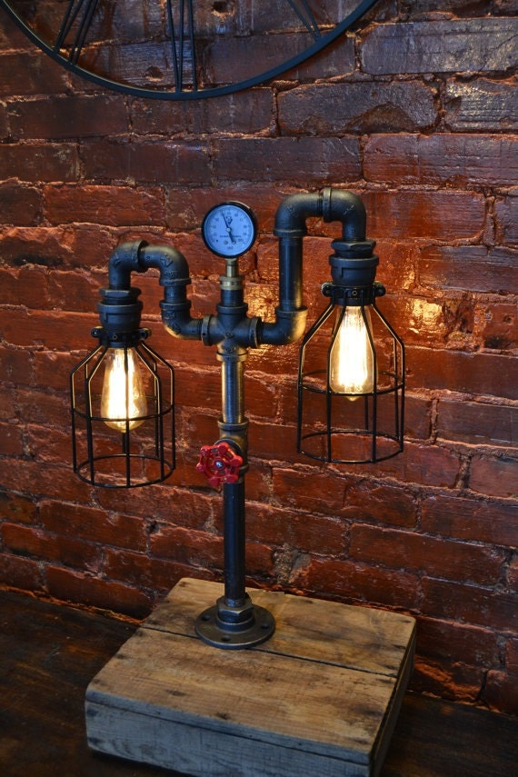 industrial pipe lamp pipe light table lamp lamp. Black Bedroom Furniture Sets. Home Design Ideas