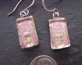 Spring Pink Pastel Fused Dichroic Glass Dangle Earrings. Handmade Jewelry. Gold Pink Blue. E-49
