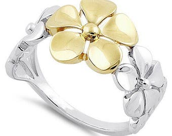 A Golden Bloom - Sterling Silver & 14k Gold Flower Ring