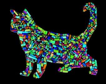 Cat, Cat Mosaic, Mosaic Cat, Ghost Mosaic Cat, Ghost Mosaic Cat Print