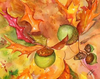 Original Oak Leaves, Acorns Watercolor Painting, Thanksgiving Fall Leaves 8 x 10 Yellow, red, orange Autumn leaves, yellow, orange wall art