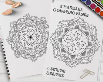 Mandala Coloring Pages Relaxation Coloring Printable Adult Coloring Pages Detailed Henna Coloring Pages Yoga Coloring Meditation Coloring 02