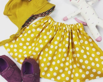 Mustard Yellow Polka Dot Girls Skirt, Fall Skirt, Thanksgiving Skirt
