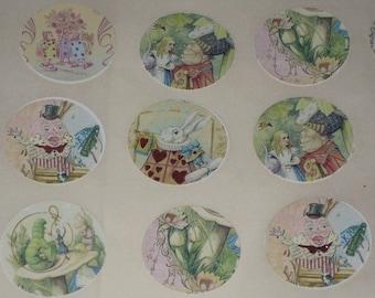 Vintage Alice in Wonderland Sticker Seals Round Vintage Altered with Glimmer for Vintage Glitz